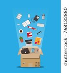 moving to new office. cardboard ... | Shutterstock .eps vector #768132880