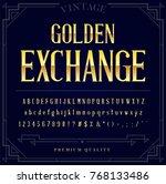 gold metallic font set. letters ... | Shutterstock .eps vector #768133486