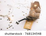 key to 2018 year. small toy... | Shutterstock . vector #768134548