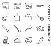 thin line icon set   shop  pan  ... | Shutterstock .eps vector #768136600