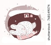 the rabbit sleeps in a burrow.... | Shutterstock .eps vector #768149074