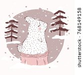rabbit on a stump in the snow.... | Shutterstock .eps vector #768149158