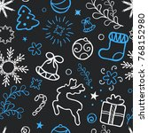 christmas hand drawn seamless... | Shutterstock .eps vector #768152980