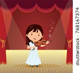 girl playing violin on the stage | Shutterstock .eps vector #768167374