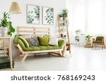 green wooden sofa with many... | Shutterstock . vector #768169243
