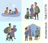 the refugee family with... | Shutterstock . vector #768173770
