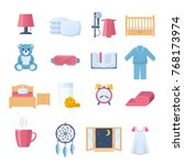set of objects for sleep. time... | Shutterstock .eps vector #768173974