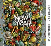 cartoon vector doodles new year ... | Shutterstock .eps vector #768181084