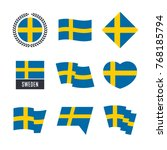 sweden flag vector icons and... | Shutterstock .eps vector #768185794