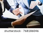 business partners discussing... | Shutterstock . vector #768186046
