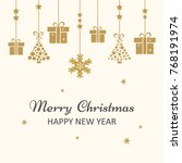 christmas greeting card. golden ... | Shutterstock .eps vector #768191974