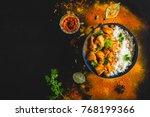 indian butter chicken with... | Shutterstock . vector #768199366