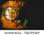 indian butter chicken with... | Shutterstock . vector #768199369