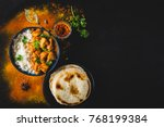 indian butter chicken with... | Shutterstock . vector #768199384
