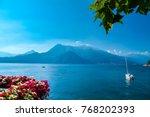 colorful flowers terrace in... | Shutterstock . vector #768202393