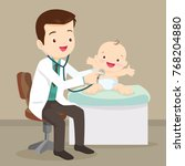 the doctor listens to breathing ...   Shutterstock .eps vector #768204880