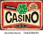 casino retro sign. vintage tin... | Shutterstock .eps vector #768208690