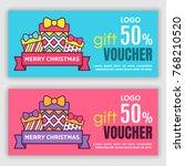 gift voucher template. vector... | Shutterstock .eps vector #768210520