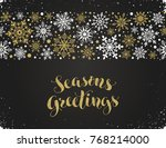 seasons greetings greeting card ... | Shutterstock .eps vector #768214000