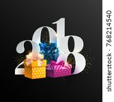 new years 2018. greeting card... | Shutterstock .eps vector #768214540