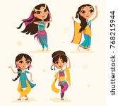 cute indian kids  girls in... | Shutterstock .eps vector #768215944