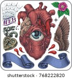 hand drawn tattoo set of... | Shutterstock .eps vector #768222820