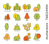 colorful autumn tree icons | Shutterstock .eps vector #768224404