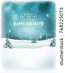christmas holidays and new year ... | Shutterstock .eps vector #768225073