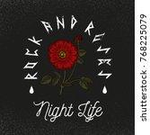 nordic flower. rock and roses...   Shutterstock .eps vector #768225079