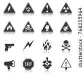 set of danger icons  hazard ... | Shutterstock .eps vector #768225964
