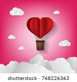 origami made hot air balloon in ... | Shutterstock .eps vector #768226363