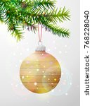 christmas tree branch with...   Shutterstock .eps vector #768228040