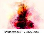 beautiful woman with long... | Shutterstock . vector #768228058