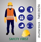 safety first  construction... | Shutterstock .eps vector #768228256