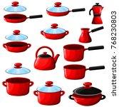 set of kitchenware pan  pot ... | Shutterstock .eps vector #768230803