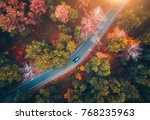 aerial view of road with... | Shutterstock . vector #768235963
