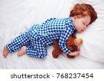 adorable redhead toddler baby... | Shutterstock . vector #768237454
