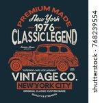 vintage style car print design...   Shutterstock .eps vector #768239554