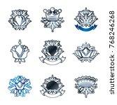 royal symbols  flowers  floral... | Shutterstock .eps vector #768246268