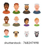 scared people face vector... | Shutterstock .eps vector #768247498
