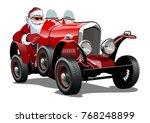 cartoon christmas retro car.... | Shutterstock .eps vector #768248899