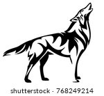 standing howling wolf black and ... | Shutterstock .eps vector #768249214