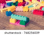 colored toy bricks on the... | Shutterstock . vector #768256039