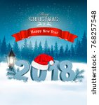 happy new year 2018 background... | Shutterstock .eps vector #768257548