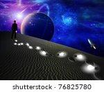 man in off earth world litters... | Shutterstock . vector #76825780
