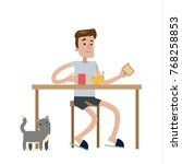 man eating breakfast with cat... | Shutterstock .eps vector #768258853