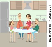 family dinner with turkey dish... | Shutterstock .eps vector #768261364