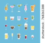 alcohol drinks set. all kinds... | Shutterstock .eps vector #768261388