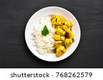 chicken curry with rice on... | Shutterstock . vector #768262579