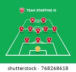 football starting xi. soccer... | Shutterstock .eps vector #768268618